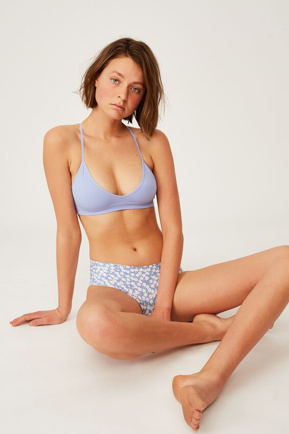The Invisible Boyleg Brief, 90S FLORAL CORNFLOWER LILAC