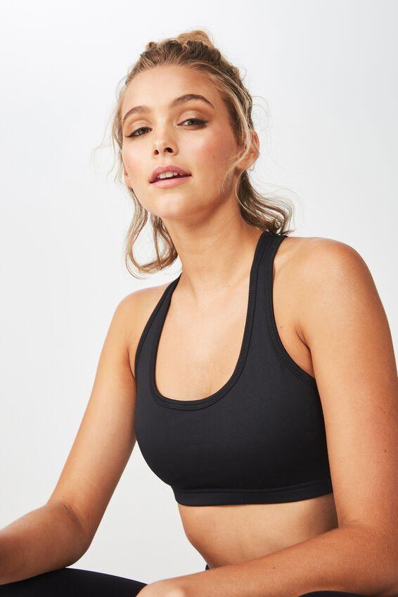 Workout Cardio Crop Bra, BLACK
