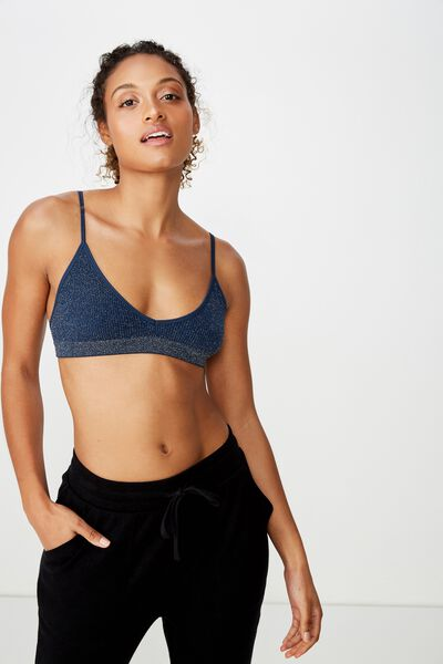 Seamfree Triangle Bralette, MIDNIGHT LUREX