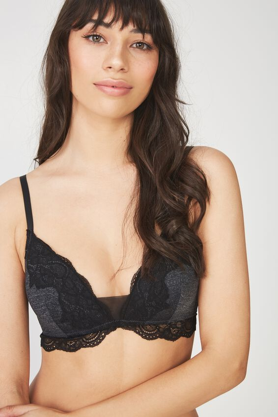 Ultimate Comfort Lace Detail Lounge Bra, CHARCOAL MARLE/BLACK