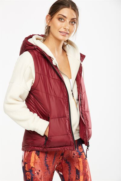 Hooded Puffer Vest, IRON RED