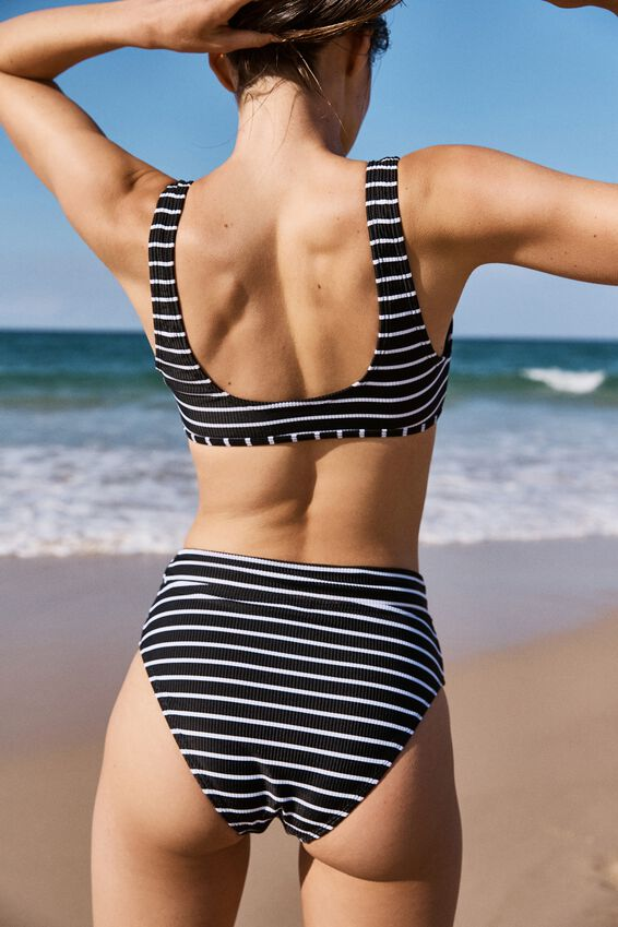 Henley Scoop Crop Bikini Top, BLACK & WHITE STRIPE RIB