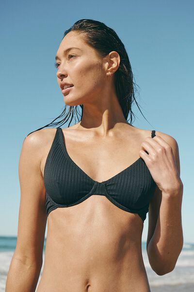 Half Wire Bralette Bikini Top, BLACK RIB 21