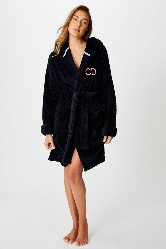 Personalised Hooded Luxe Plush Gown, NAVY TEXTURED