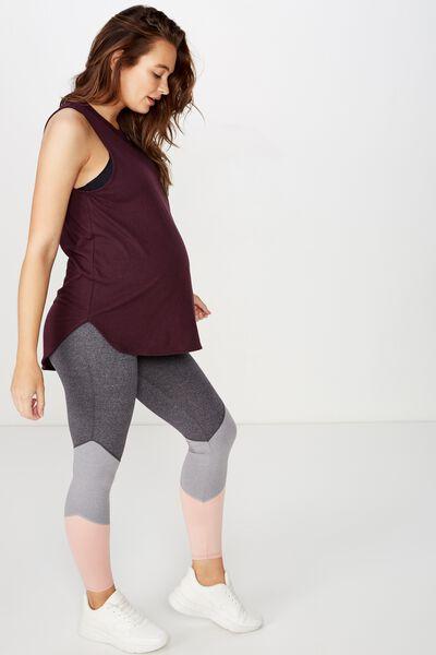 Maternity Active Curve Hem Tank Top, EGGPLANT