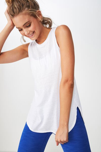 Scooped Flow Tank Top, WHITE