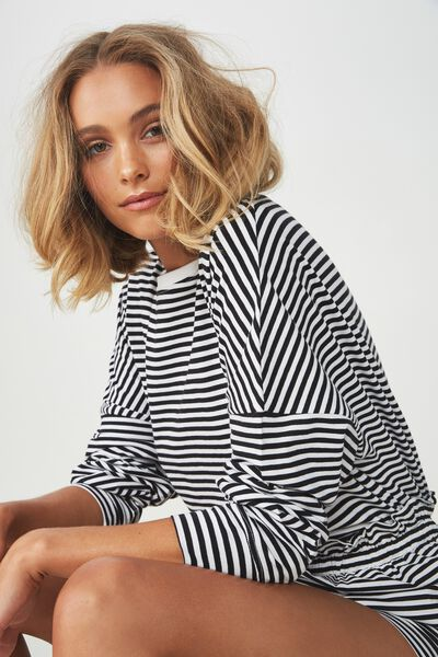 Ls Drop Shoulder Jersey Top, FREDDIE FEEDER STRIPE BLACK
