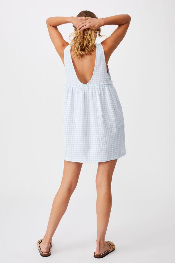 Drop Armhole Beach Dress, PALE BLUE GINGHAM