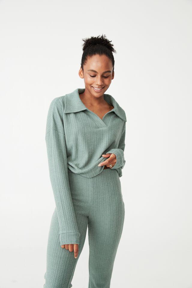 Super Soft Textured Long Sleeve Polo, VERDANT GREEN MARLE