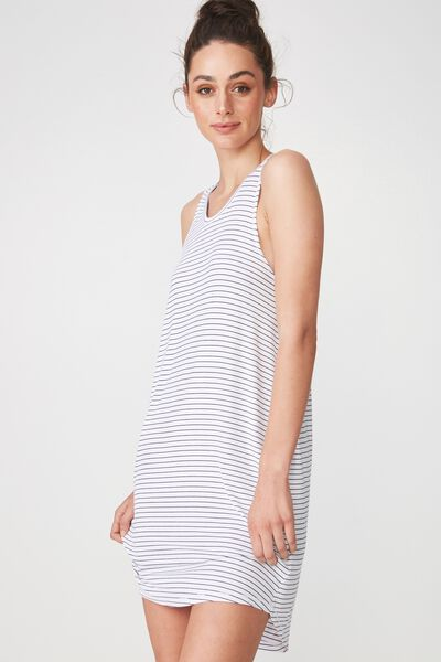 Sleep Recovery Tank Nightie, MIDNIGHT STRIPE