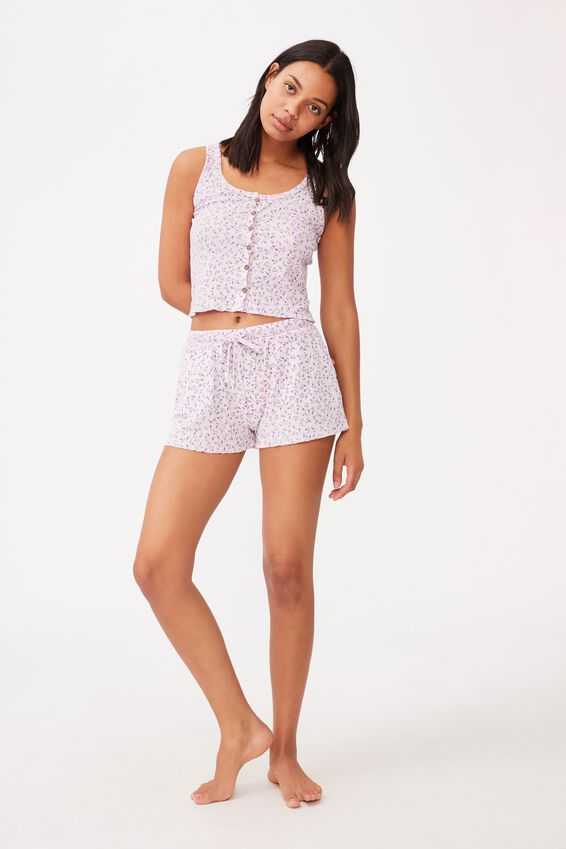 Waffle Bed Time Short, LITTLE BUD/SHEER LILAC
