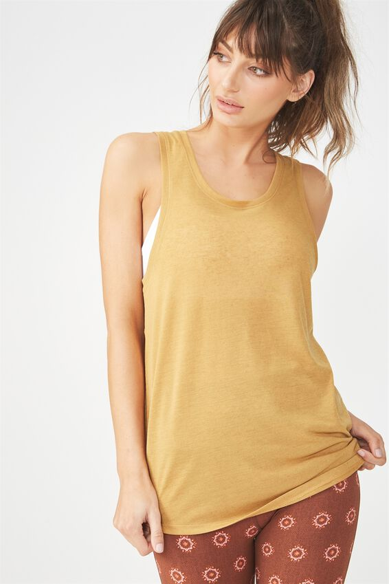 Slouchy Scoop Neck Tank, GOLDEN CHAI