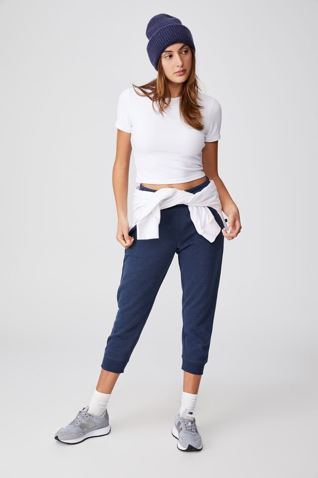 Lifestyle Cropped Gym Track Pants, MIDNIGHT MARLE