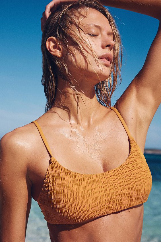 Scoop Crop Bralette Bikini Top, SPICY MUSTARD RIB