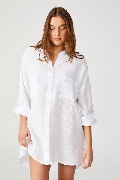 Pre Party Oversized Shirt Nightie, WHITE