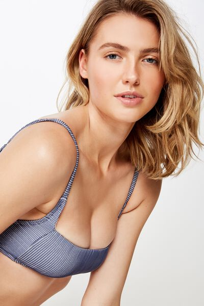 Square Neck Bralette Bikini Top, BERING SEA SHIMMER RIB