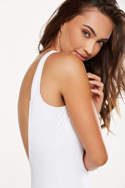 Charley Thick Strap One Piece Cheeky, WHITE