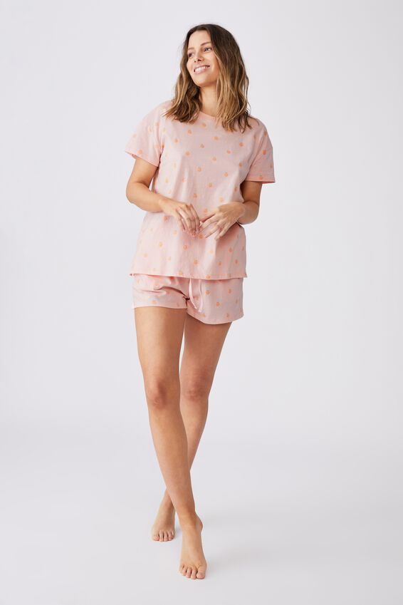 Jersey Sleep Short, ROSE WATER/PEACHY KEEN