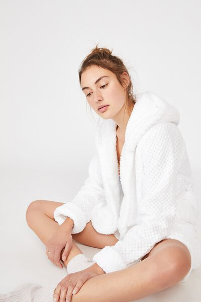 Hooded Luxe Plush Gown, WHITE TEXTURED