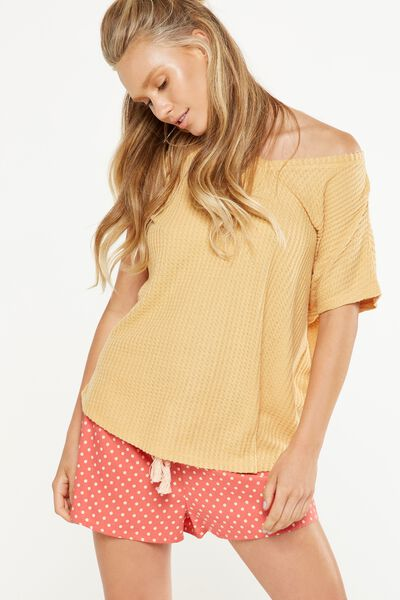 Brushed Waffle T Shirt, LIGHT HONEY