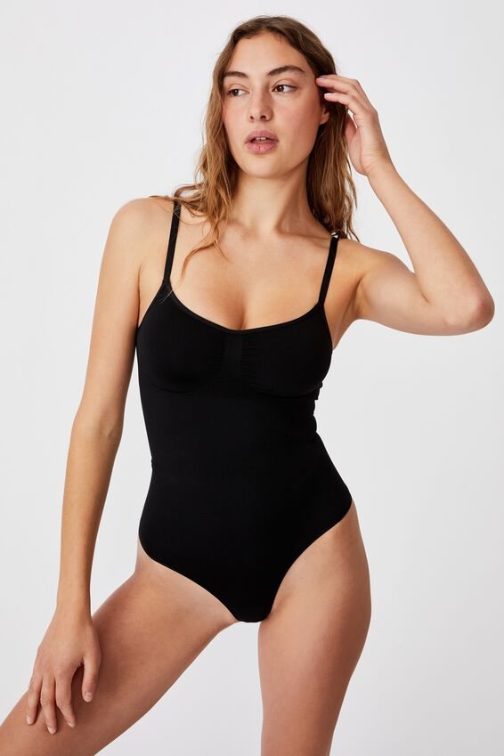 Go Figure Smooth Bodysuit, BLACK