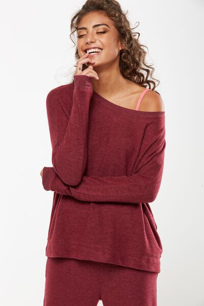 Super Soft  Lounge Top, ROSEWOOD MARLE