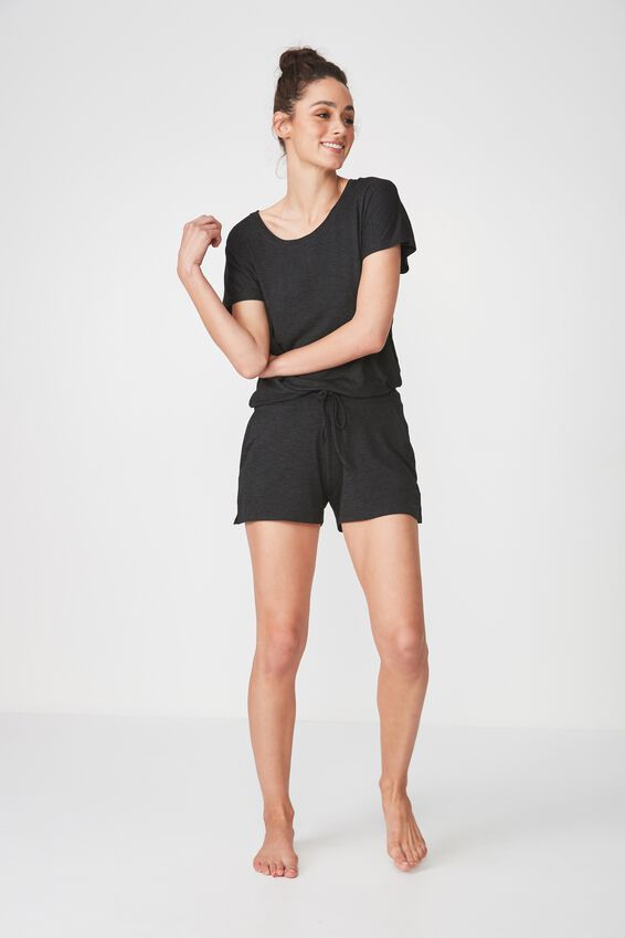 Sleep Recovery Cap Sleeve T Shirt, BLACK MARLE