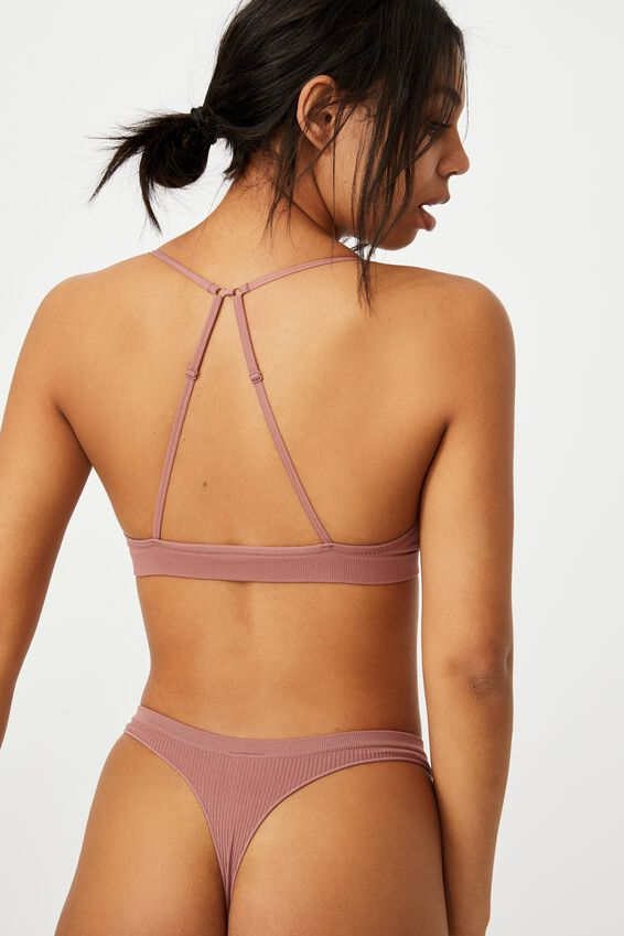 Seamless Triangle Bralette, DUSTY ROSE