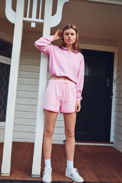 Summer Fleece Short, PINK POP MARLE