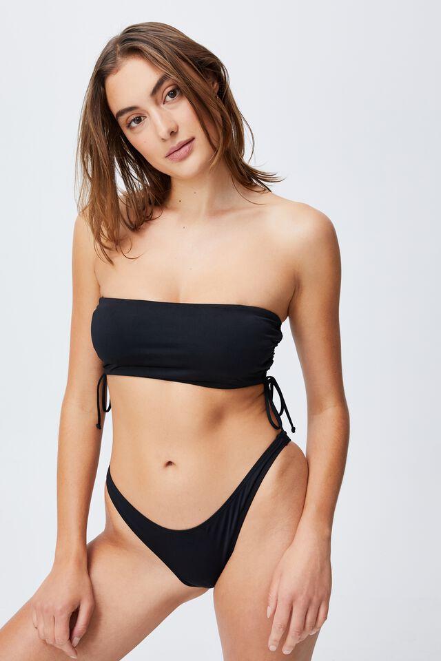 Side Gathered Midi Bandeau Bikini Top, BLACK