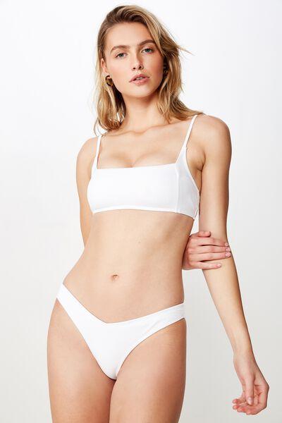 High Side Brazilian Bikini Bottom, WHITE RIB