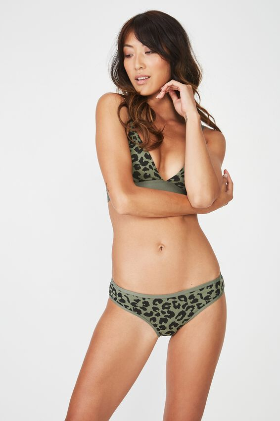Cotton Flat Elastic Bikini Brief, TWO TONED LEOPARD