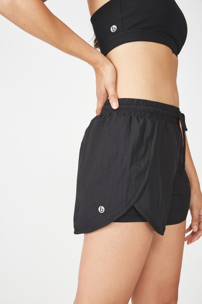 Crinkle Jogging Short, BLACK
