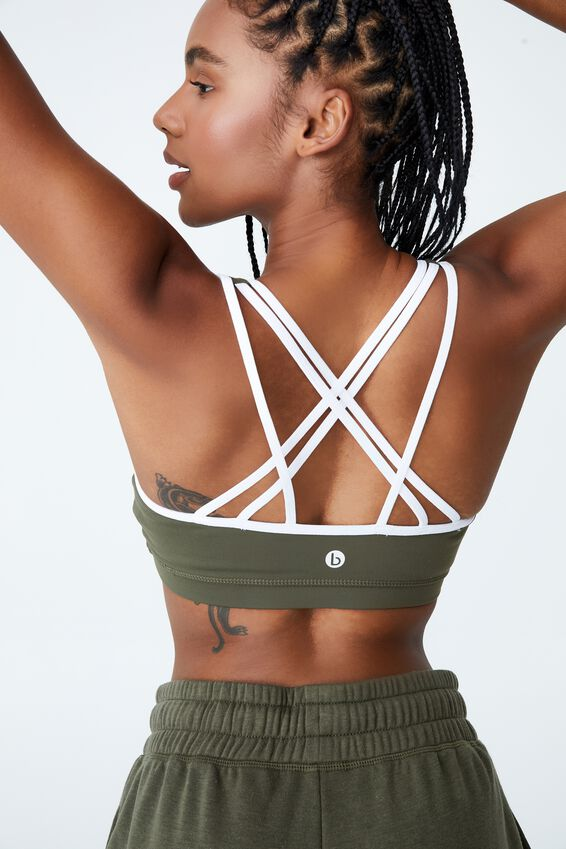 Strappy Sports Crop, DEEP MOSS/WHITE