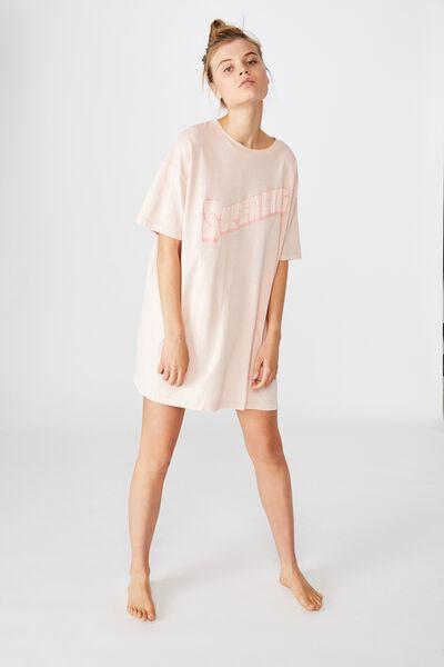 90 S Tshirt Nightie, LCN WB SUPERGIRL/WASHED ROSE WATER