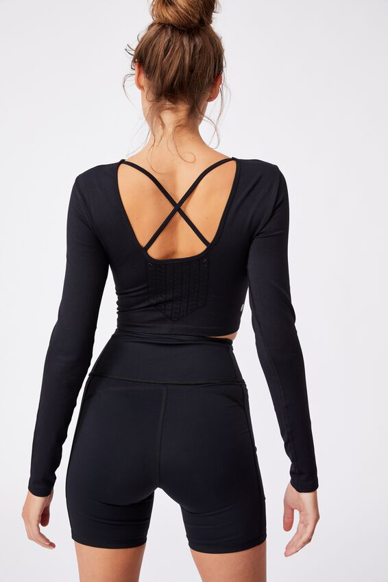 Lifestyle Seamless Open Back Long Sleeve Top, BLACK