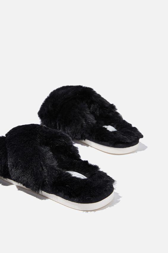 Arlie Crossover Slipper, BLACK