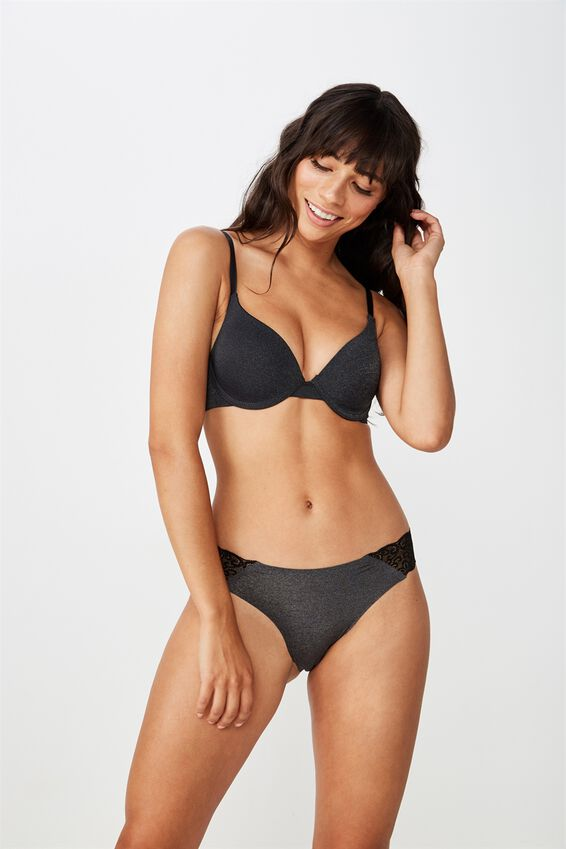 Party Pants Seamless Brasiliano Brief, CHARCOAL MARLE