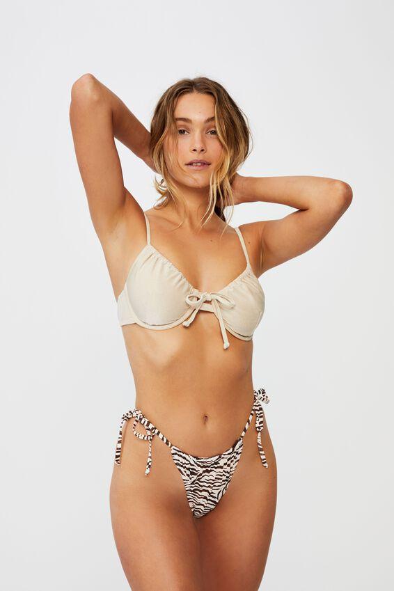 Gathered Tie Brazilian Bikini Bottom, MOTLED ZEBRA
