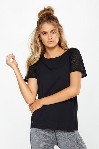 Mesh Scooped T Shirt, BLACK