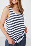 Sleep Recovery Scoop Back Tank, THICK STRIPE/ IRON