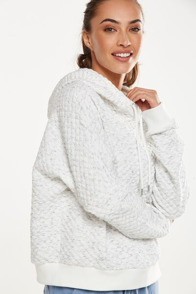 Bubble Fleece Long Sleeve Top, BLACK WIRE