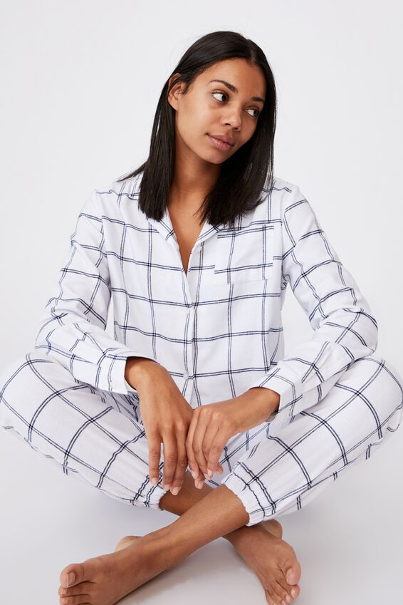 Flannel Sleep Shirt, OVERSIZED CHECK WHITE