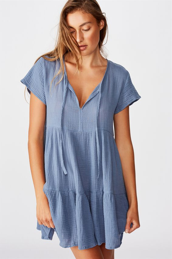 Babydoll Beach Dress, MARINA BLUE