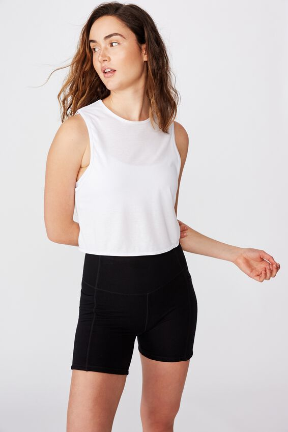 Lifestyle Tie Up Muscle Tank, WHITE