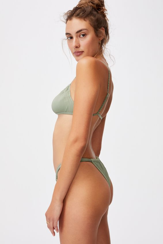 Gathered Strap Brazilian Bikini Bottom Rib, KHAKI RIB