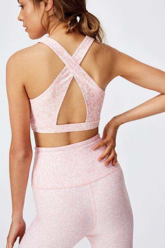 Workout Cut Out Crop, DITSY TEXTURE/PEONY PINK