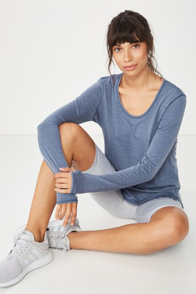 Long Sleeve Gym Top, STEEL BLUE