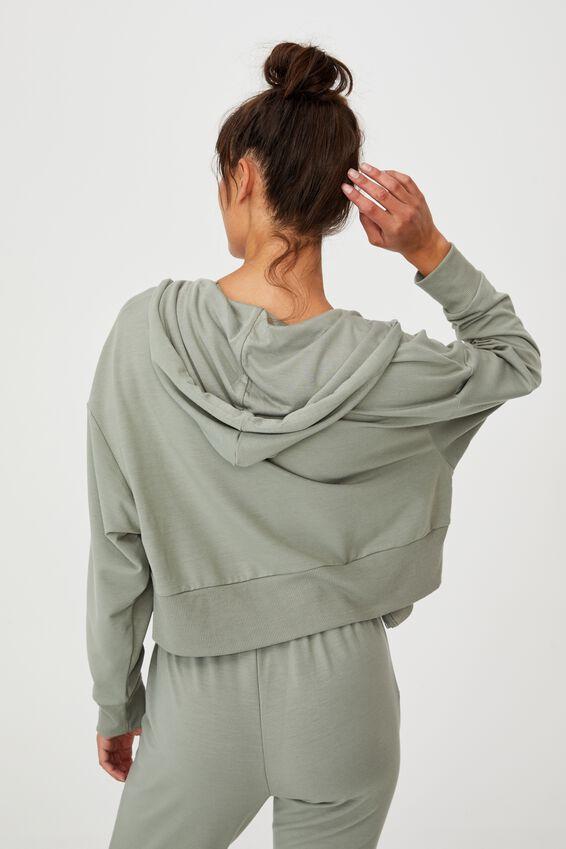 The Ultra Soft Zip Through Hoodie, GREEN HAZE