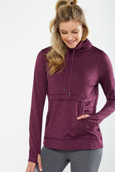 Workout Gym Tunnel Long Sleeve Top, WILD ROSE MARLE